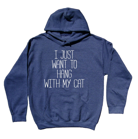 I Just Want To Hang With My Cat Sweatshirt Funny Cat Owner Kitten Mom Hoodie