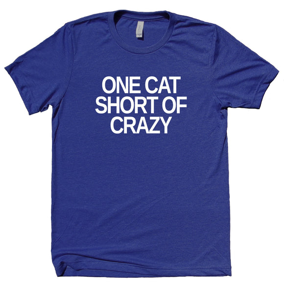 One Cat Short Of Crazy Shirt Funny Cat Owner Girl's T-shirt