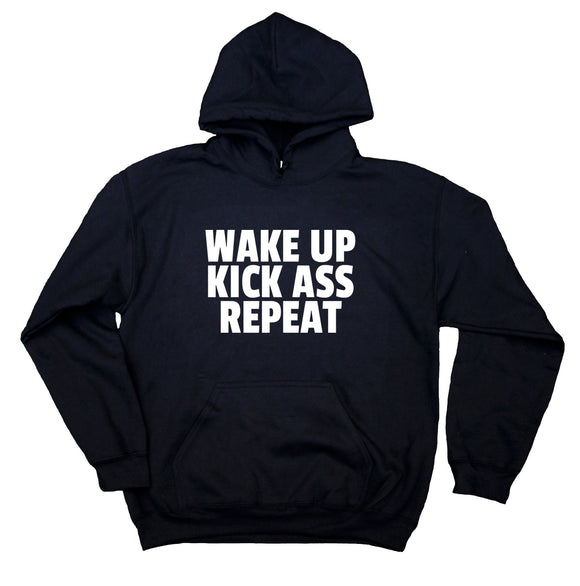 Wake Up Kick As Repeat Sweatshirt Fitness Work Out Gym Hoodie