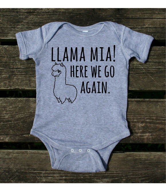 Llama Mia Here We Go Again Baby Onesie Cute Funny Boy Girl Infant Clothing