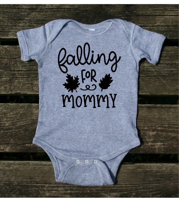 Falling For Mommy Baby Onesie Fall Leaves Autumn Newborn Girl Boy Infant Clothing