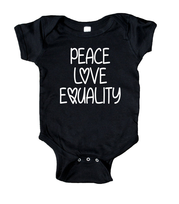 Peace Love Equality Baby Onesie Black