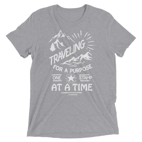 Traveling for a Purpose One Stamp at a Time Inspirational Short sleeve t-shirt