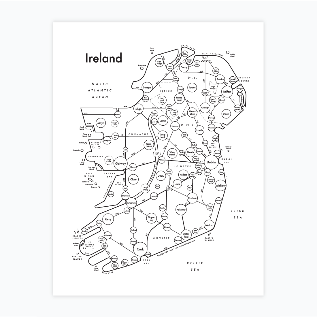 Map Of Ireland Print.Ireland Map Print Archie S Press