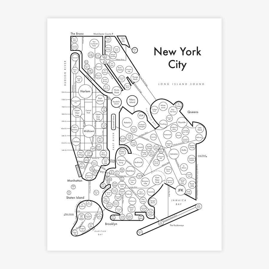 New York City Map Print Archie S Press