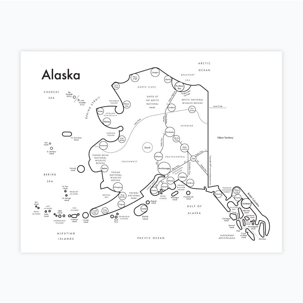 image relating to Printable Maps of Alaska referred to as Alaska Map Print