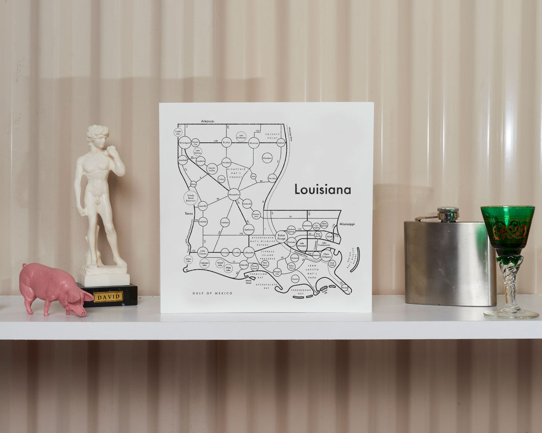 Louisiana Map Print