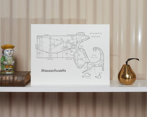 Massachusetts Map Print
