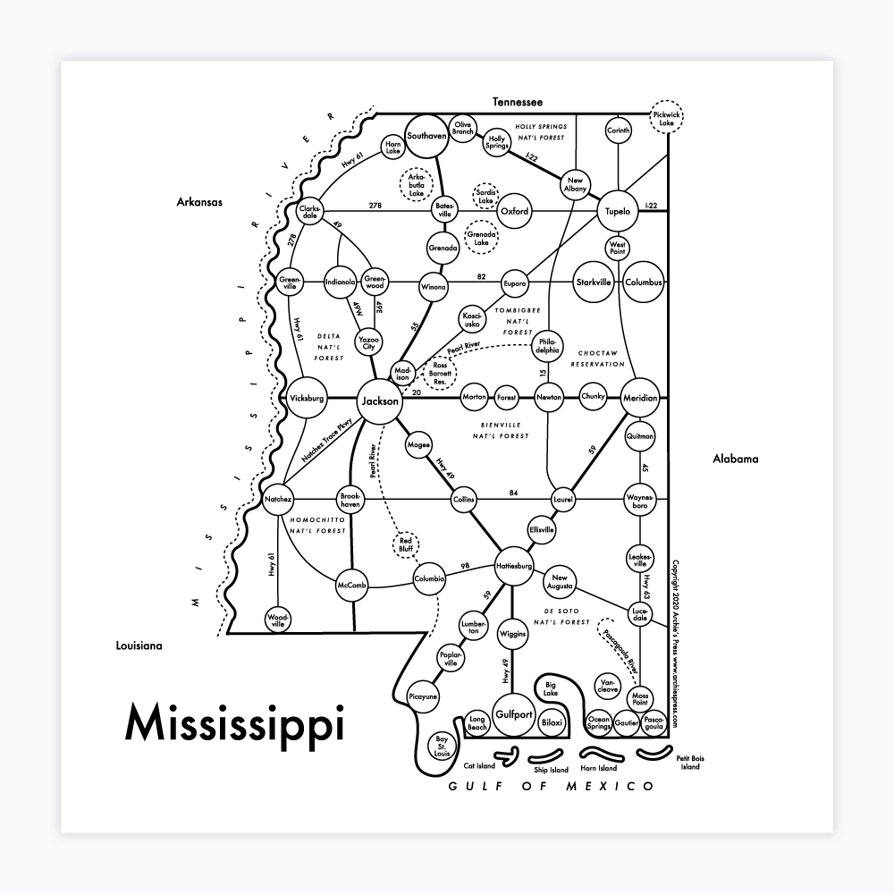 Mississippi Map Letterpress Print