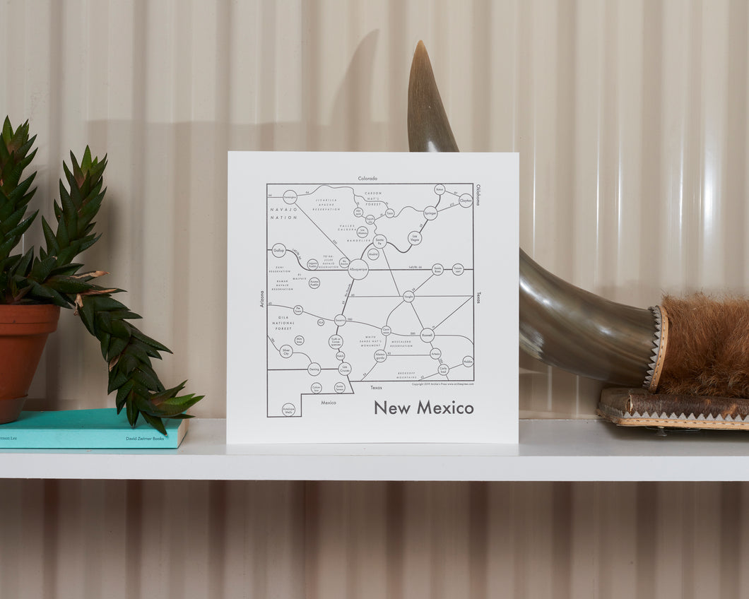 New Mexico Map Print