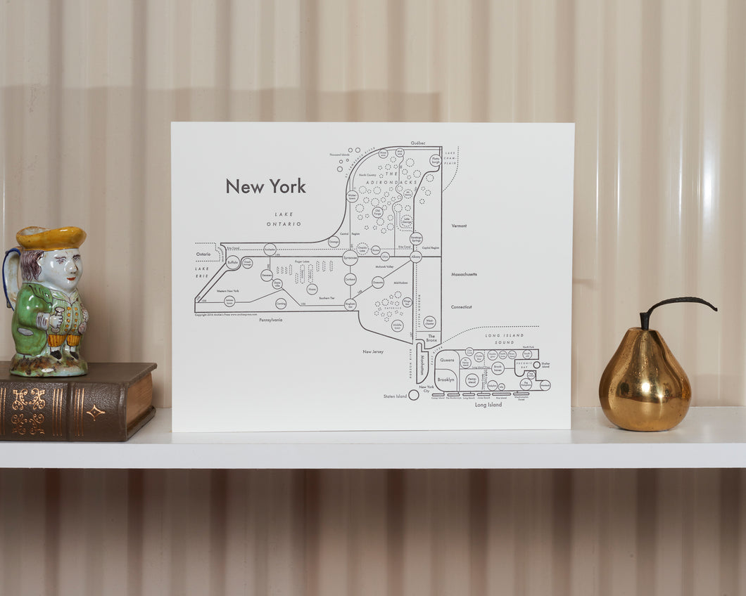 New York State Map Print