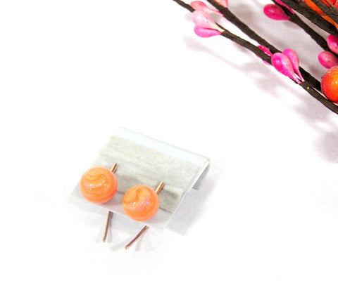rose gold line bar stud earrings with orange beads