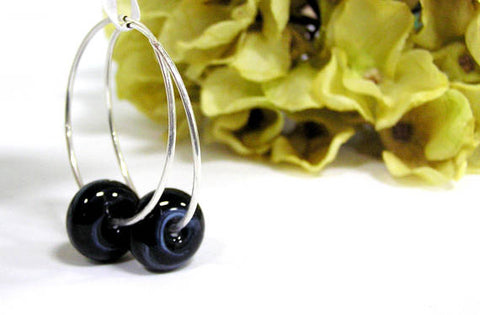 black glass beaded sterling silver hoop earrings