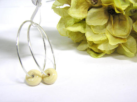 Beige Beaded Sterling Silver Hoop Earrings