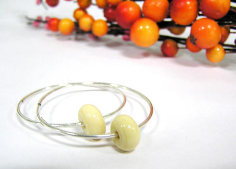 off white glass beaded sterling silver hoop earrings
