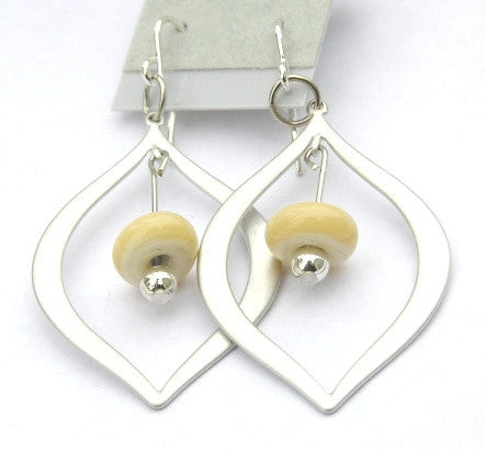 Beige glass beaded silver teardrop earrings. Modern, elegant earrings with a classy touch! See these up close here: https://wrist-flair.myshopify.com/collections/beaded-earrings/products/beige-beaded-silver-teardrop-earrings