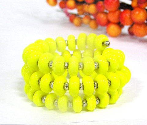 Yellow Beaded Wrap Bracelet