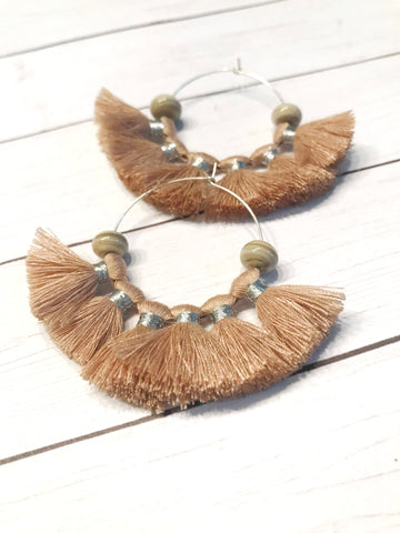beige fan tassel silver hoop earrings
