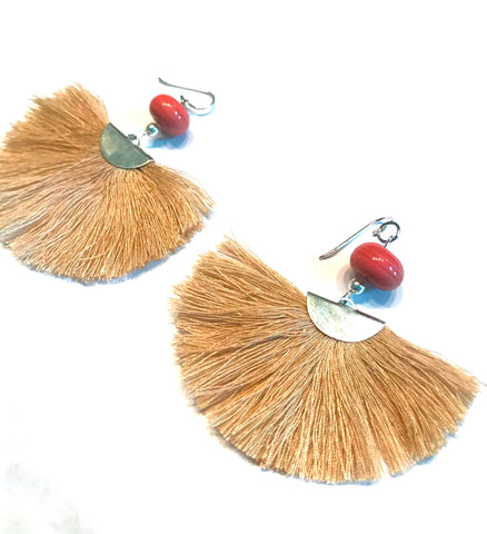 beige fan tassel earrings
