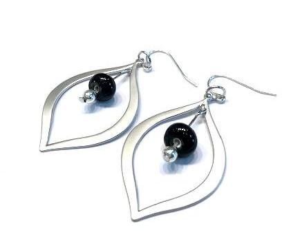 black beaded silver teardrop earrings. Shop for classic and timeless glass beaded jewelry at http://www.wristflairglass.com