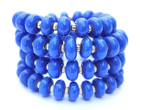 Cobalt Blue Wrap Bracelet--if you're searching for a cobalt blue bracelet modern in design, look no further! This stunning wrap bracelet features handmade glass beads in a beautiful cobalt blue color. See it up close here https://wrist-flair.myshopify.com/collections/stretchy-wrap-bracelets/products/blue-wrap-bracelet