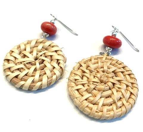 coral red glass beaded woven straw earrings