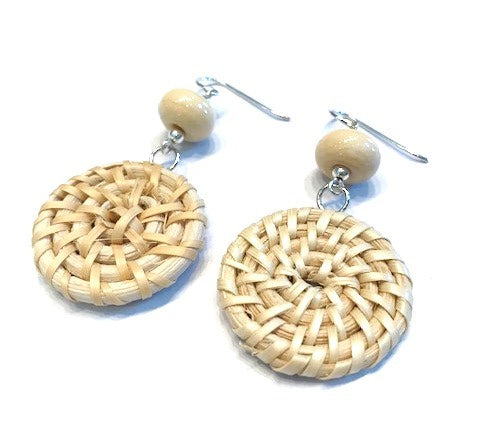 cream beaded woven rattan earrings