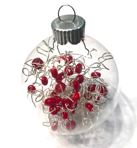 red glass beaded Christmas ornament