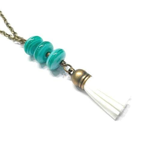 green and white tassel necklace for young girls
