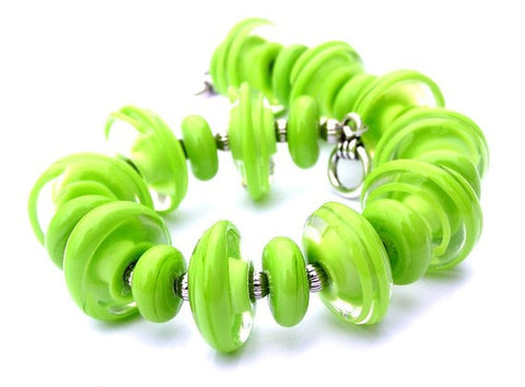 lime green beaded toggle bracelet