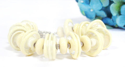 Beige Off White Glass Bead Statement Bracelet