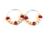 wood and red beaded hoop earrings
