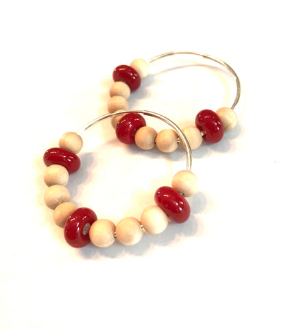 red and wood beaded hoop earrings