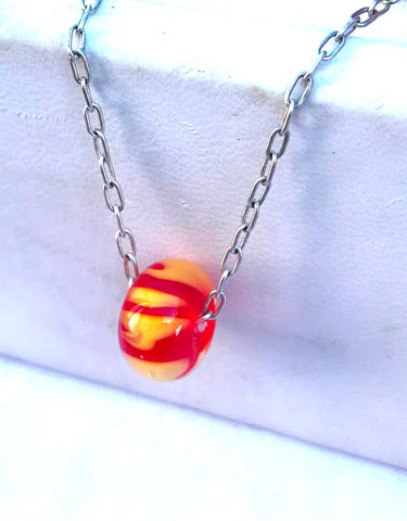 red and gold swirl beaded sterling silver choker necklace
