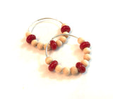 red and wood beaded hoop earrings2