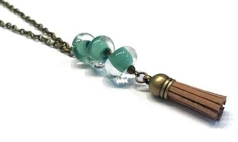 necklace for younger girls with green beads and brown tassel