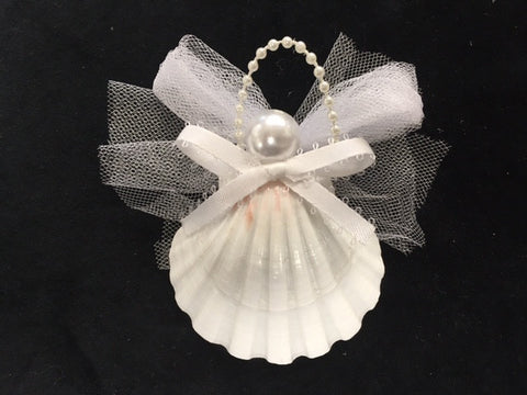 White seashell angel ornament