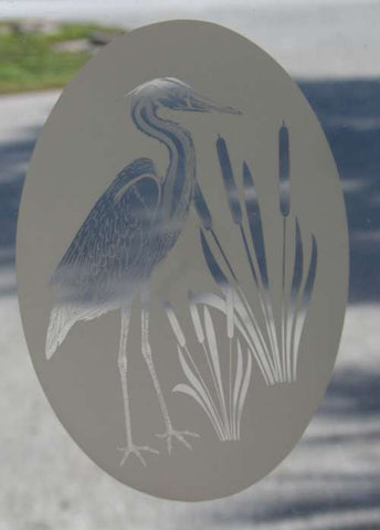 Egret Window etching