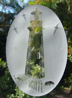 Lighthouse window cling etching