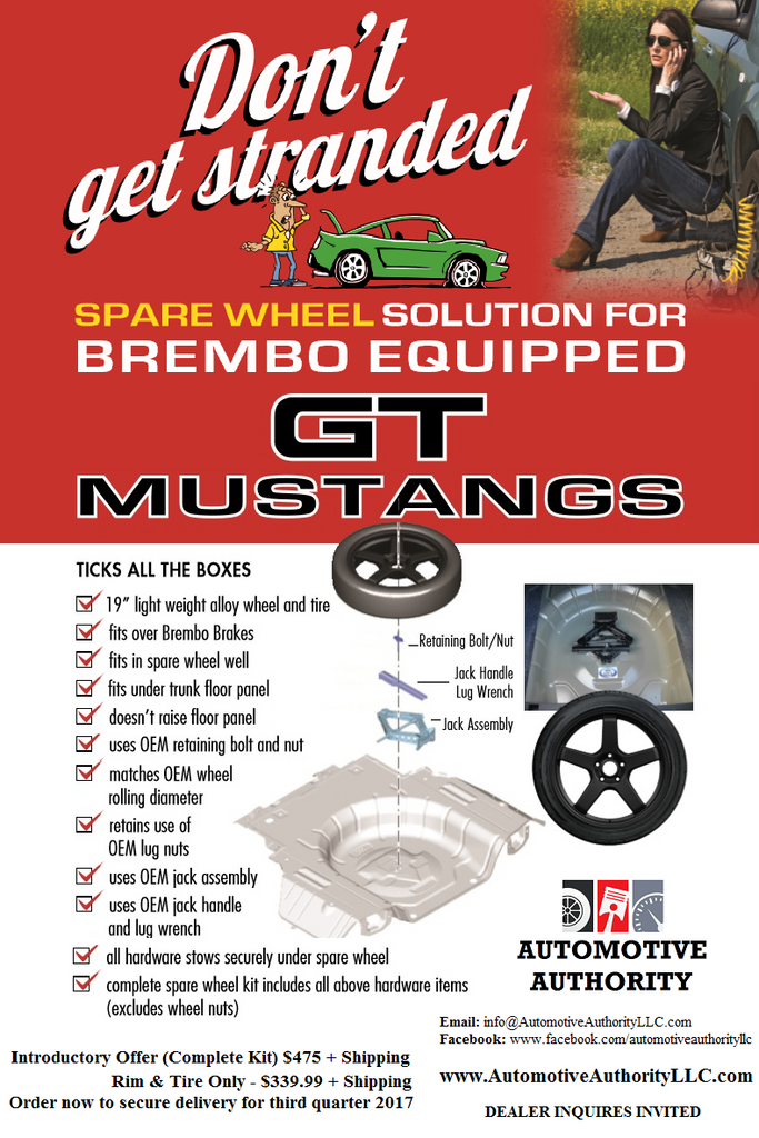Spare Tire Solution for 2007-2021 Ford Mustang GT's Equipped with Brembo Brakes