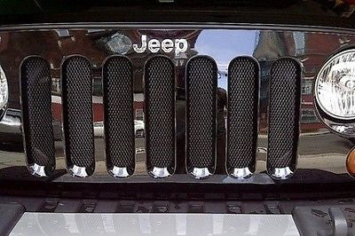 2007 2008 2009 2010 2011 2012 2013 2014 2015 2016 Jeep Wrangler JK Black Mesh Grille Guard Kit - Automotive Authority