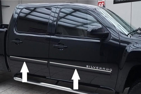2007 2008 2009 2010 2011 2012 2013 Chevy Silverado CHROME SIDE DOOR TRIM ROCKER PANEL MOLDING PACKAGE - Automotive Authority