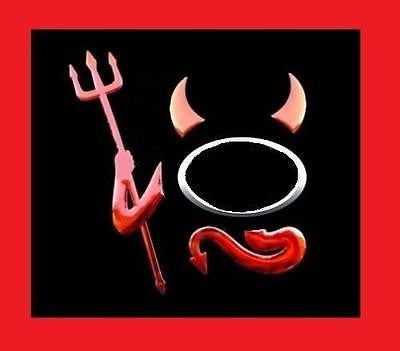Red Chrome Devil Emblem Decal Set - Horns, Tail, Arm - Automotive Authority