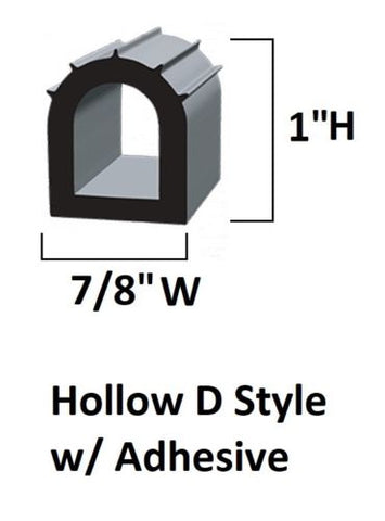 D-Seal Black EPDM Heavy Duty Adhesive RV Slide Out 7/8