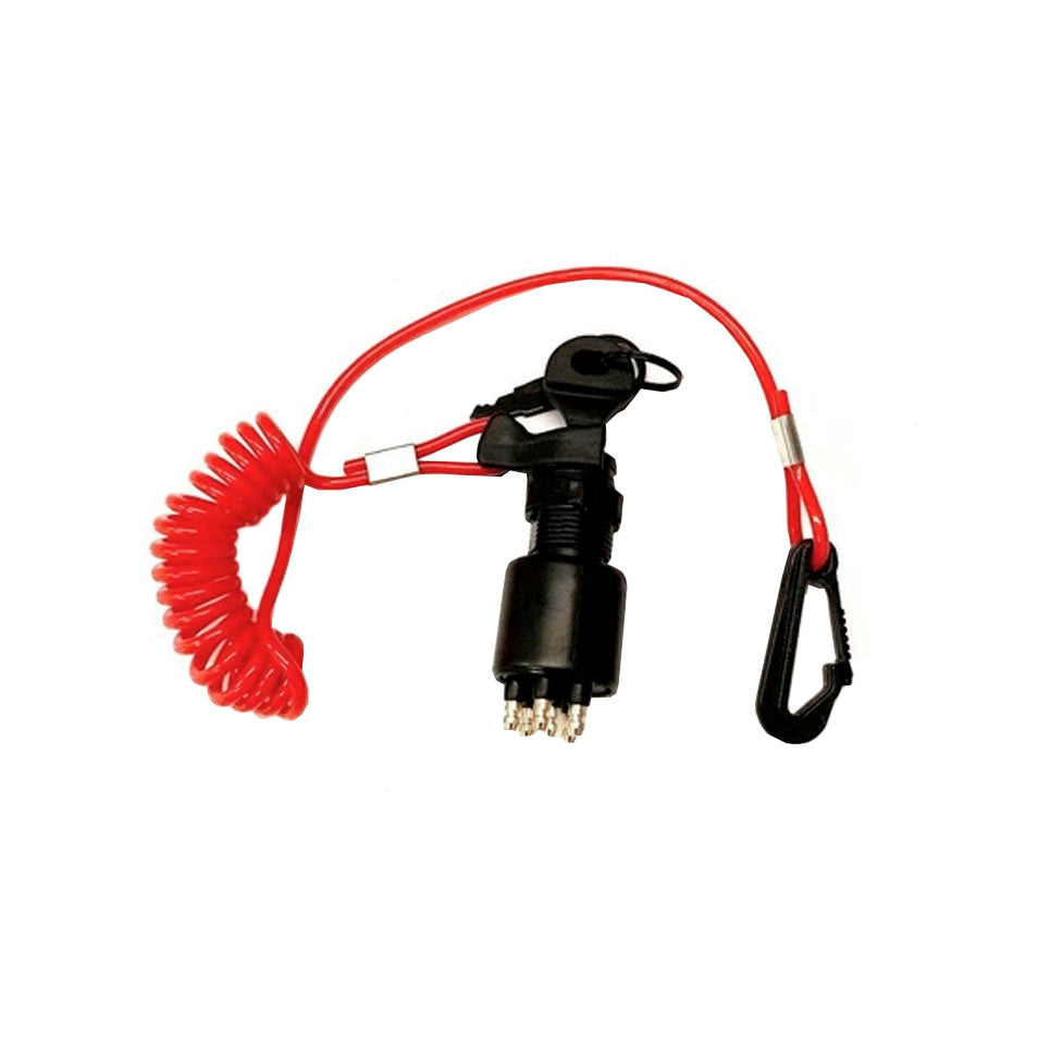 Boat Motor Parts 05005801 0175974 WINGOGO 5005801 175974 Ignition Switch and Key with Safety Lanyard Replacement for Johnson Evinrude OMC BRP Outboards 40-200 HP 1996-UP