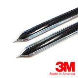 "Vintage Style 5/8"" Black & Chrome Side Body Trim Molding - Formed Pointed Ends - Automotive Authority"