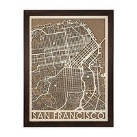Wood and Cork Framed Map