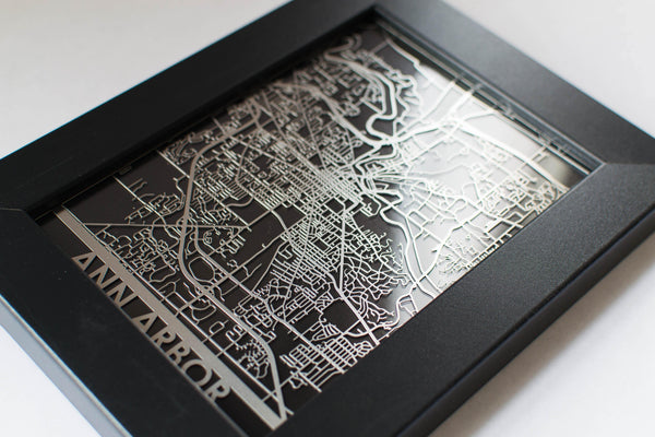 "Ann Arbor - Stainless Steel Map - 5""x7"""