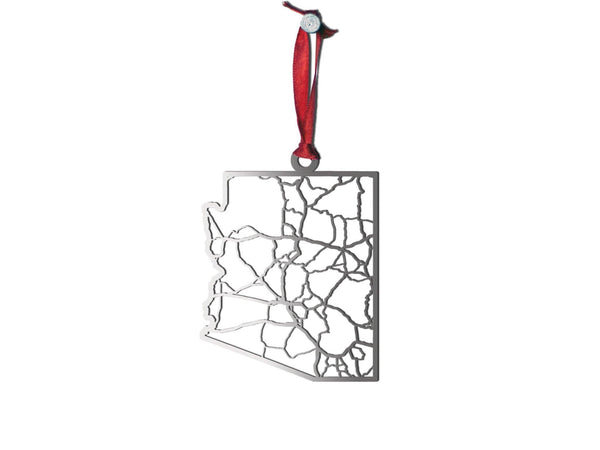 Arizona Stainless Steel Christmas Ornament - Cool Cut Map Gift