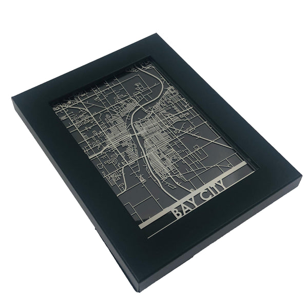 "Bay City - Stainless Steel Map - 5""x7"""